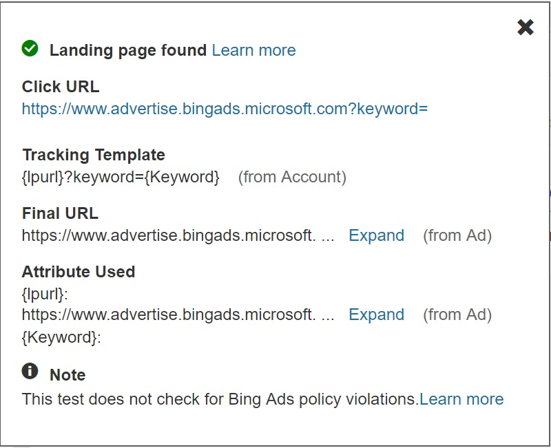 Bing Ads Landing page URL examples