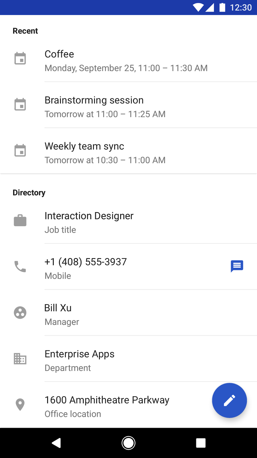 Google Android Contacts app: Directory card