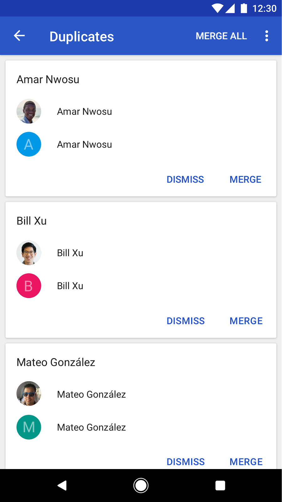 Google Contacts app for Android: merge duplicates
