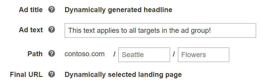 Bing Ads: set up ad text and path