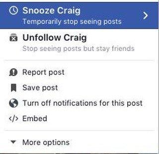 Facebook Snooze Button