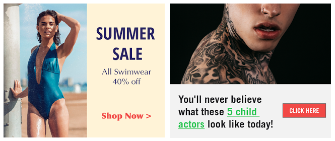 Mock-up racy ad and ad blocked by DoubleClick senitive category controls