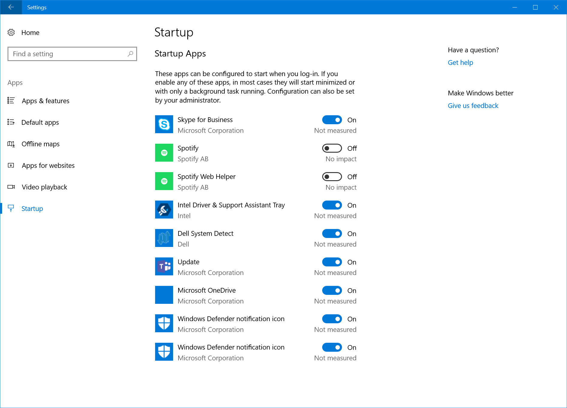 New Startup apps Settings in Windows 10 Build 17017