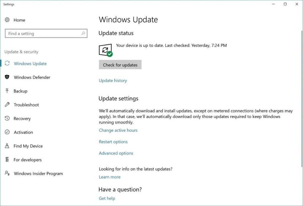 Windows 10 Fall Creators Update Settings Page