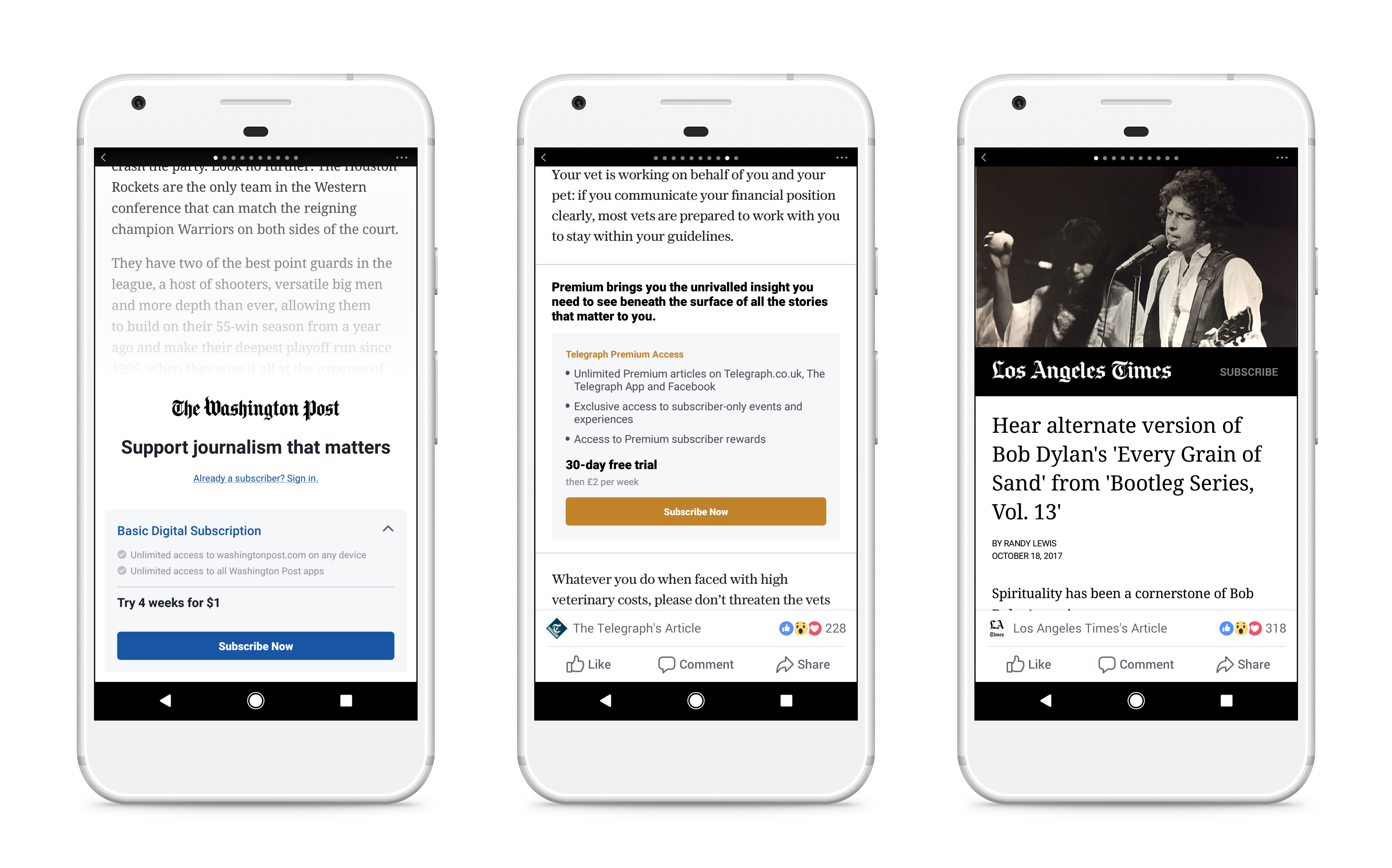 Facebook Subscriptions Support in Instant Articles on Android