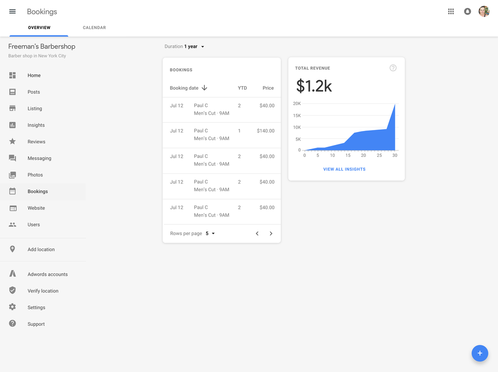 Track booking in Google My Business Dashboard