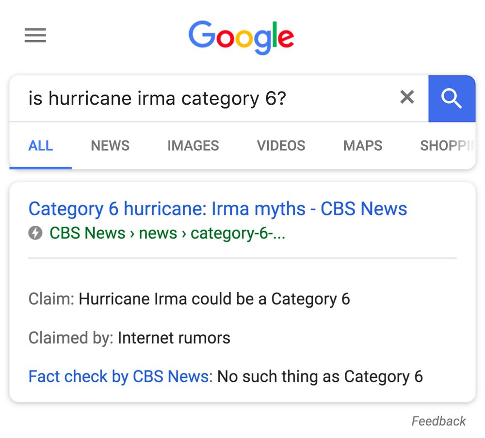 Google Fact-check tag result