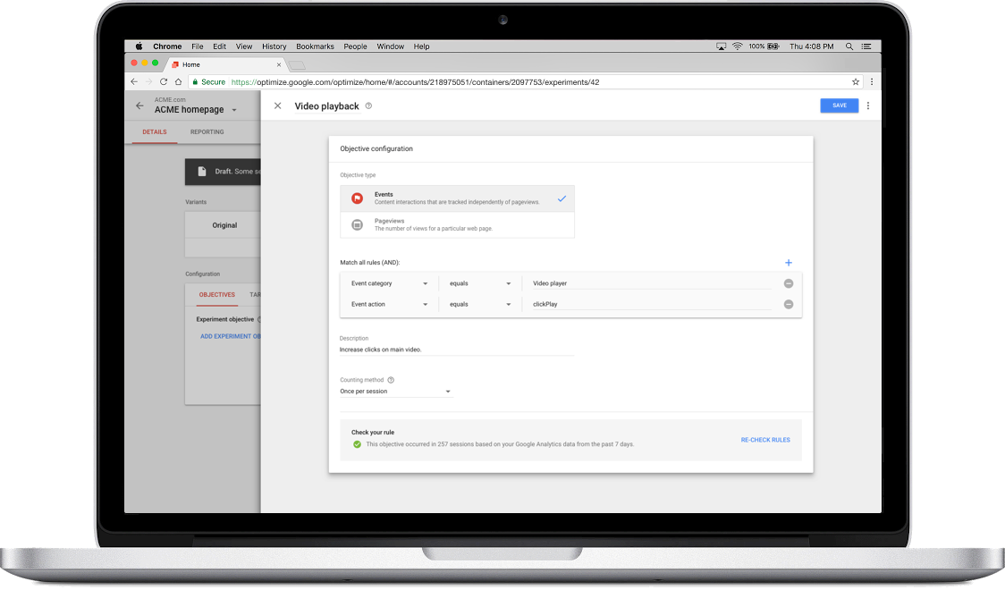 Creating Objective in Google Optimize UI
