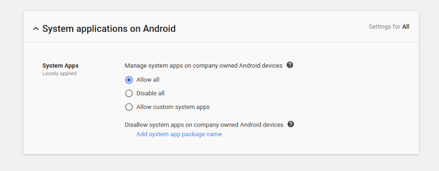 G Suite System Apps Settings