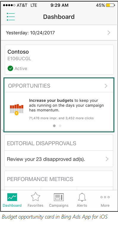Budget Opportunity in Bing Ads app