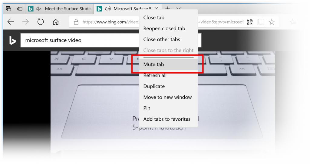 Mute-a-tab in Microsoft Edge
