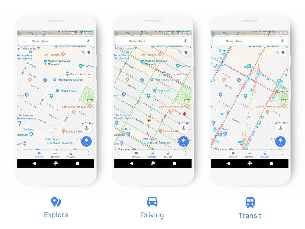 New Google Maps UI