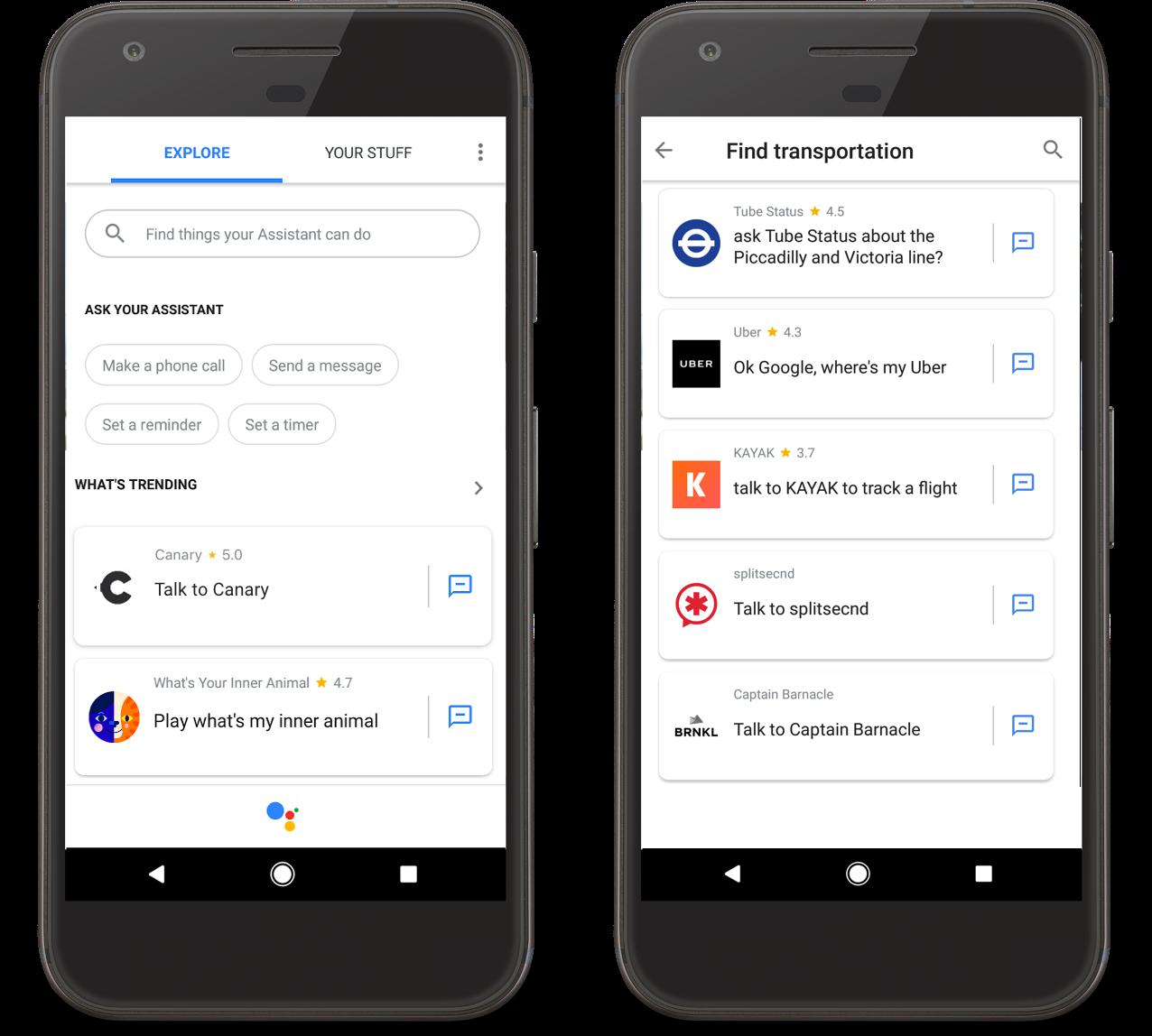 Google Assistant subcategories
