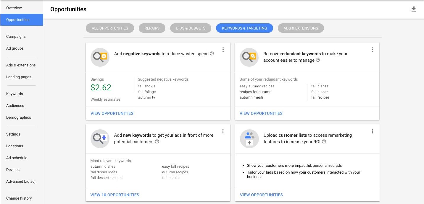 new google adwords opportunities page