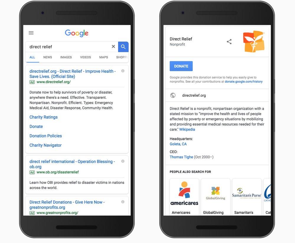 Donation Button in Google Search U.S.