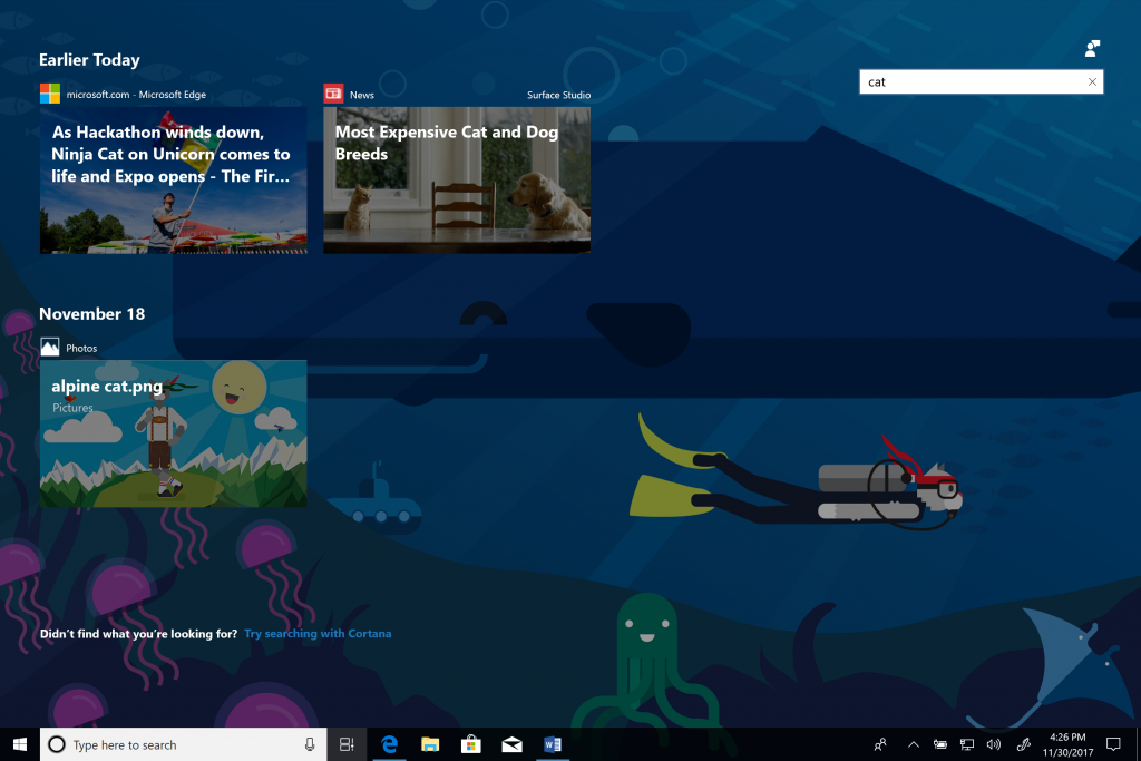 Search in Windows 10 Timeline