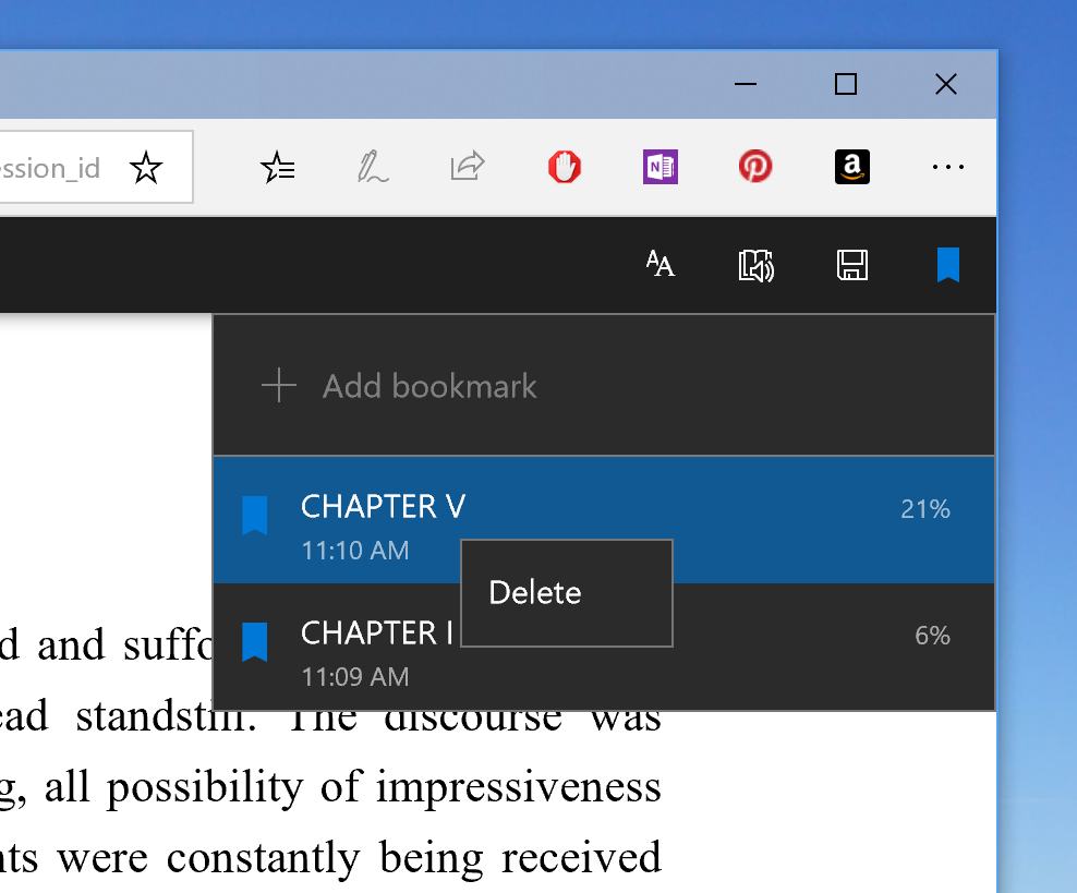 Microsoft Edge groups bookmark and flyout