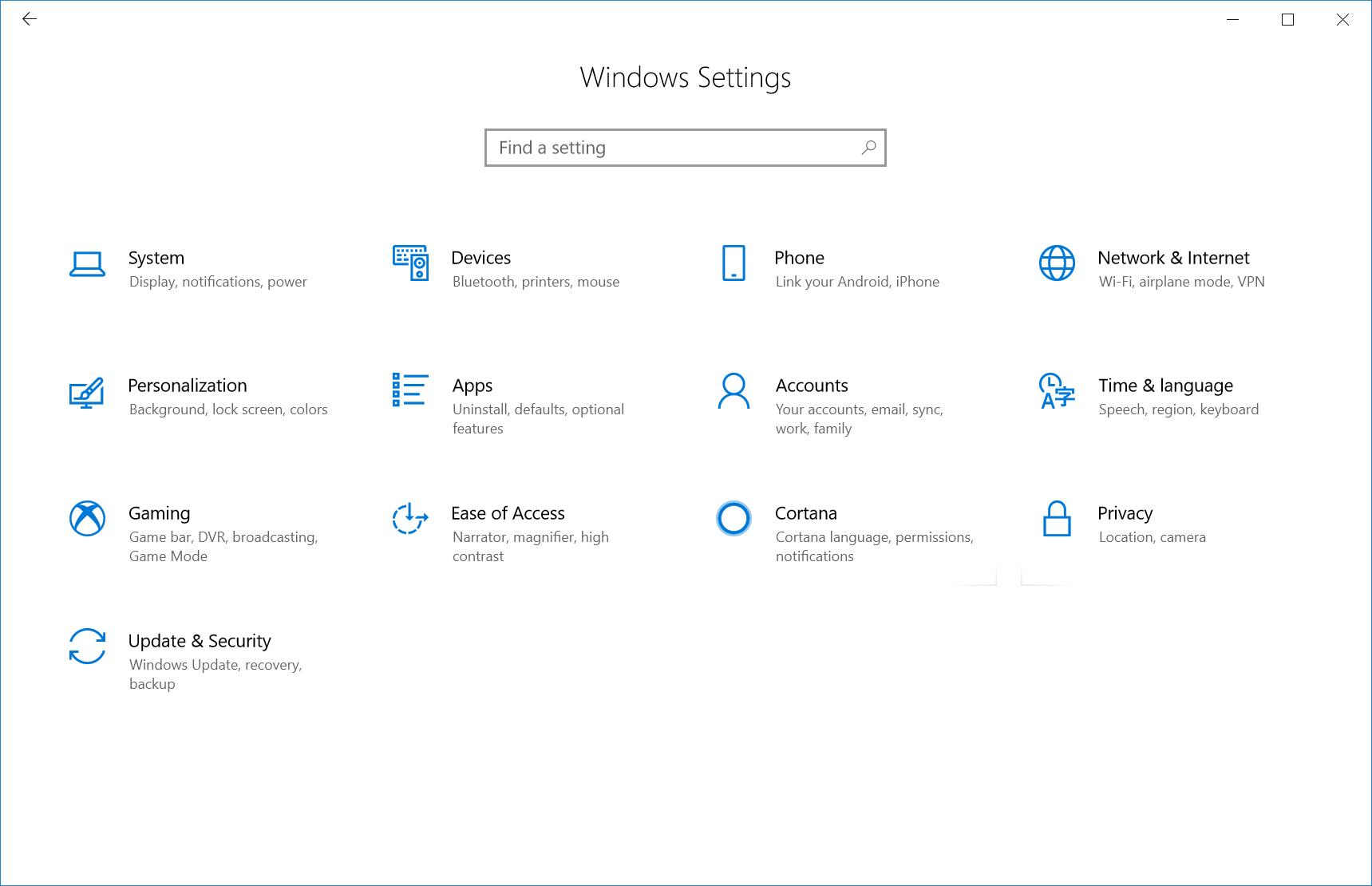Windows Settings Fluent UI