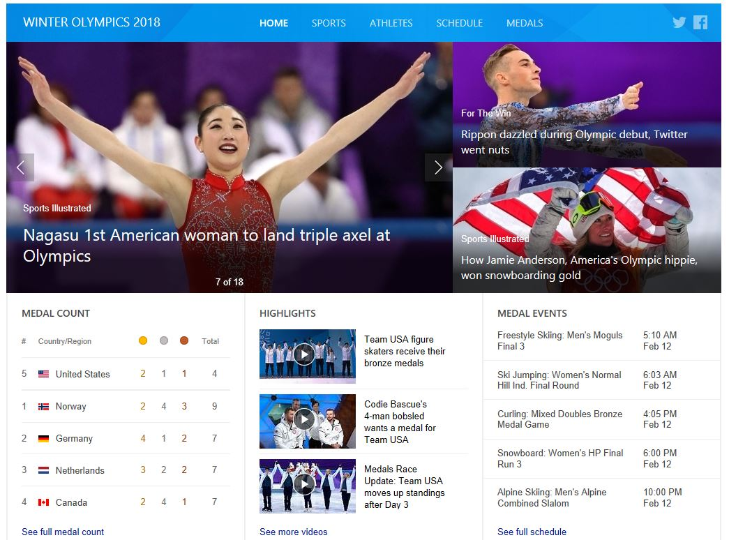 Winter Olympics 2018 Information on Bing Search Results