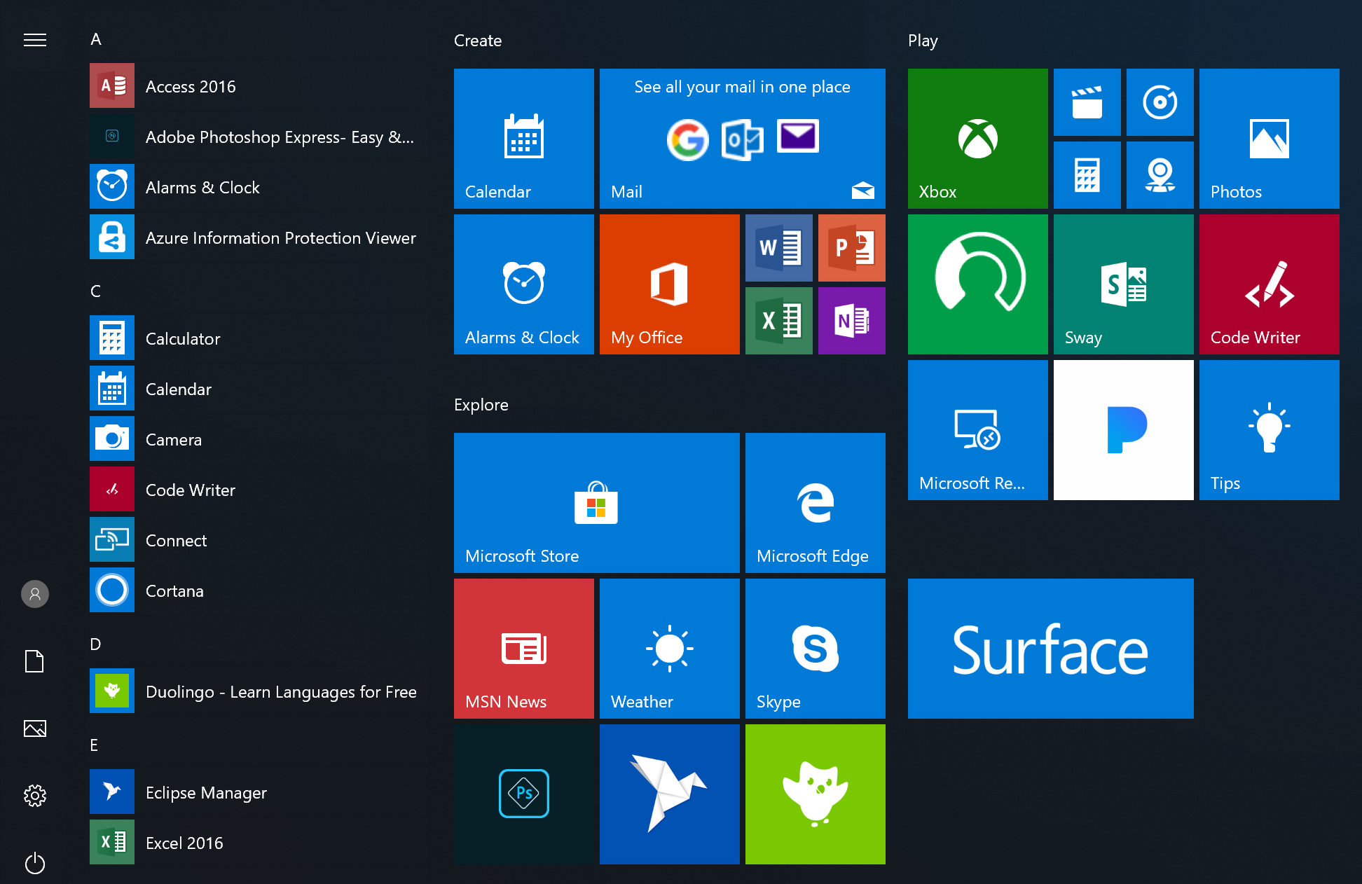 New Start menu for Windows 10 Pro for Workstations