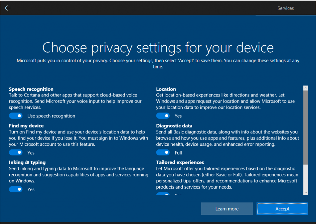 new windows 10 17115 privacy settings page