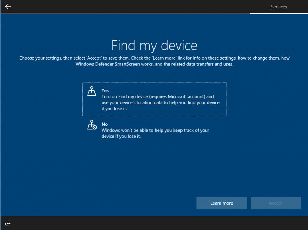 windows 10 17115 find my device