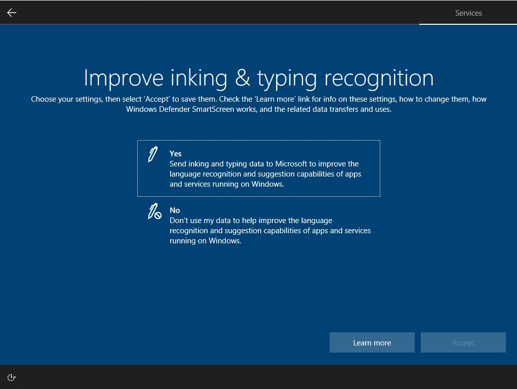 windows 10 17115 improve inking & typing