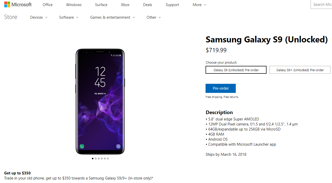 Samsung Galaxy S9 in Microsoft Store - Front