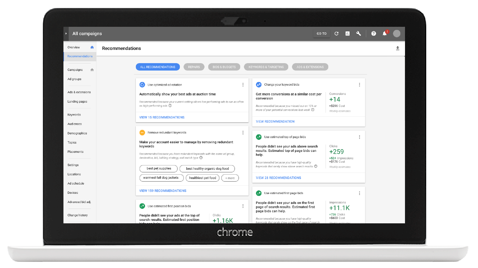 recommendations page in new google adwords ui