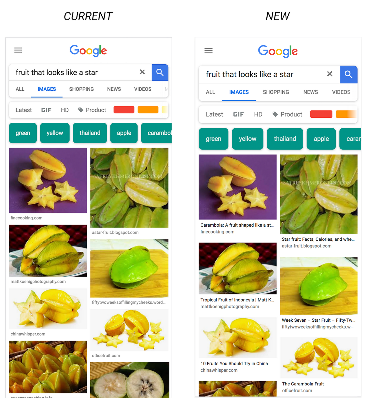 captions on google image search results