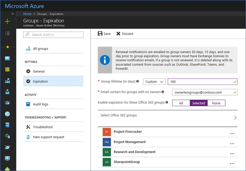 Azure AD Expiration Policy for Office 365 Groups