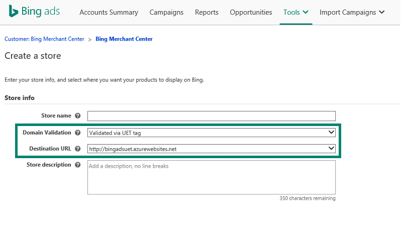 Creating Bing Merchant Center store with UET tag