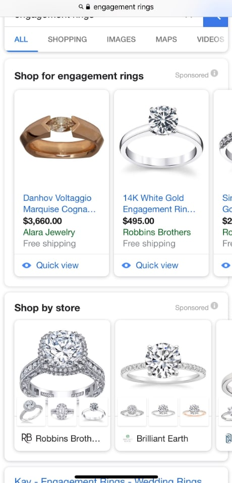 Google double Product Listing Ads carousel in the mobile search results
