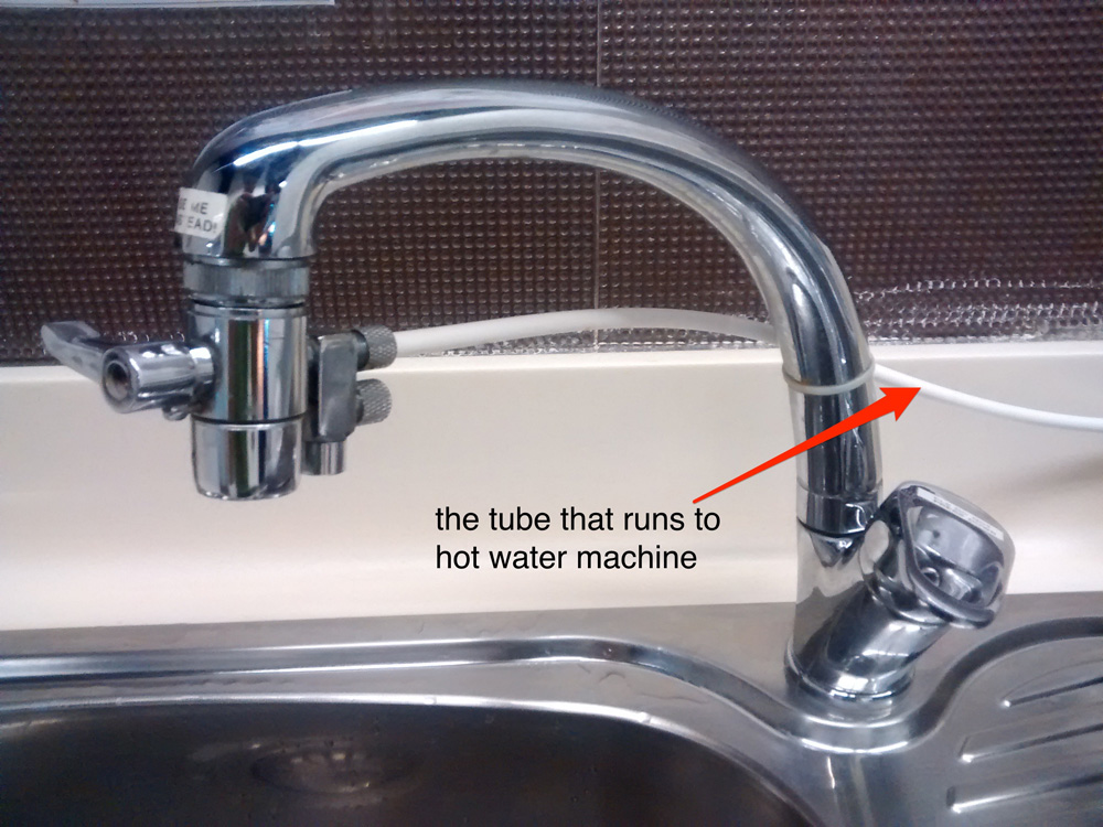 The tube from water tap to hot water dispenser