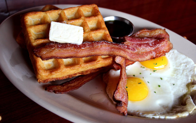 Oatmeal waffles with eggs and bacon at Redwood.