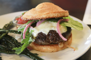 Grass-fed burger at Southeast Portland's Harvester Brewing.