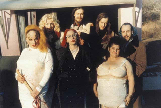 Divine, Mink Stole, and John Waters on the set of Pink Flamingos