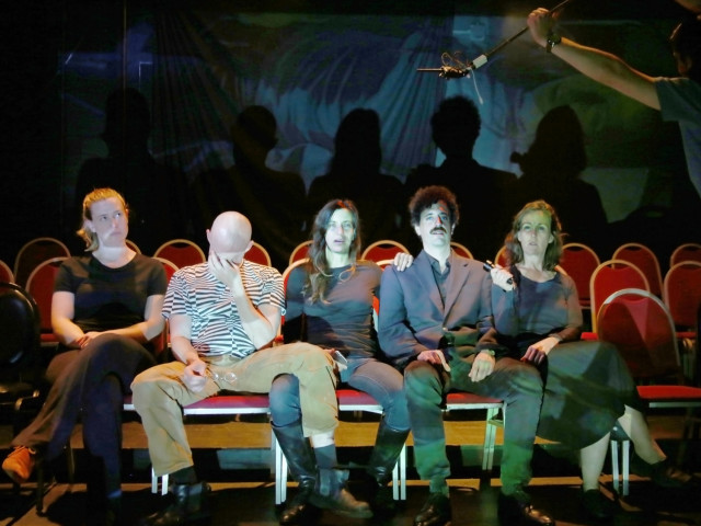 Publikumsbeschimpfung rehearsal photo moses gunesch ft starr ahrens evan corcoran amanda boekelheide alex reagan carla grant citexl
