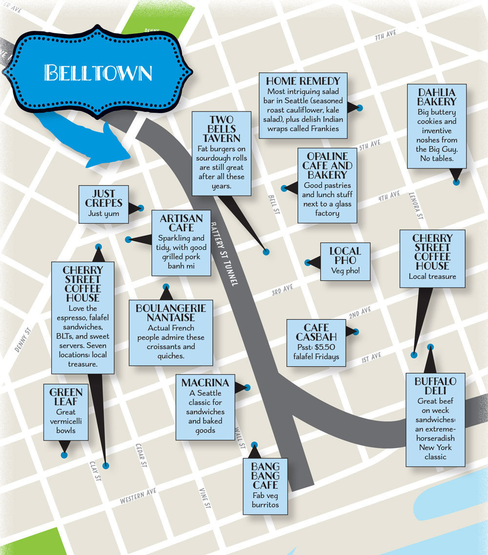 Belltown lunch spots map sxn0o9
