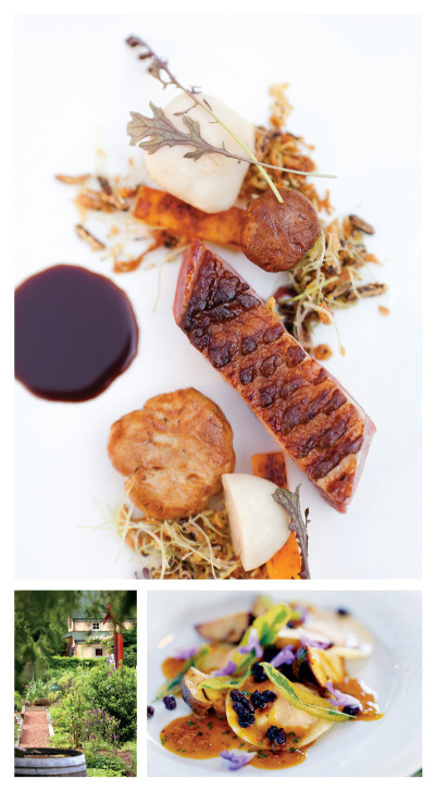 Seared Muscovy duck breast with grape must sauce, matsutake and chanterelle mushrooms, and granola; carrot ravioli with boletus mushrooms and currant and sage sauce; the Herbfarm's garden of raised beds