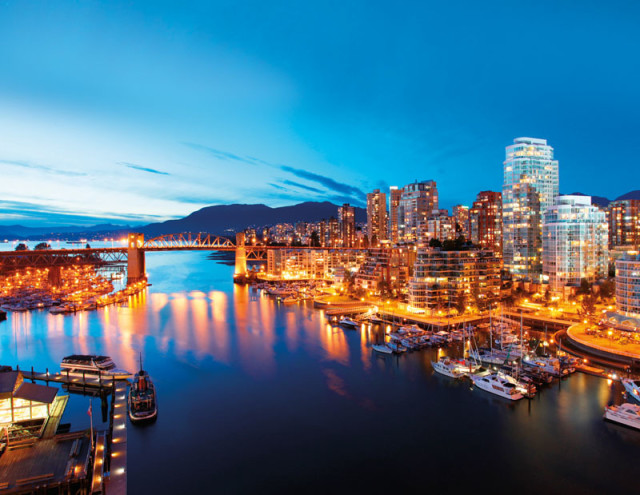 A view of False Creek and the Burrard Street Bridge at Vancouver's southern seawall