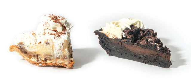 Left: House of Pies' Bayou Goo; Right: The Chocolate Bar's Bayou City Mud Pie