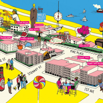 Pike place market illustrated map b1diiv