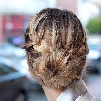 Amazing hairstyle different braids bun blonde colored purple pink maron french braid flower braid long hair  21  vg0n1k