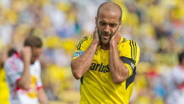 Columbus Crew star Federico Higuain in sorrow