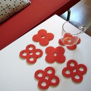 Moufelt circle coasters red so14wu