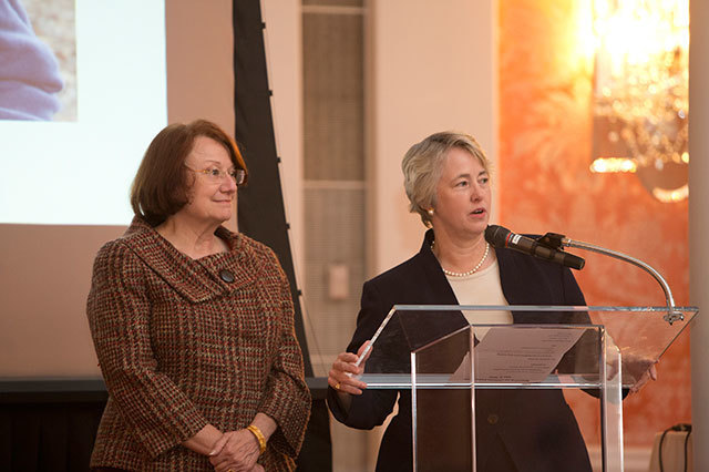 Kathy hubbard and mayor annise parker speaking ycrcs7