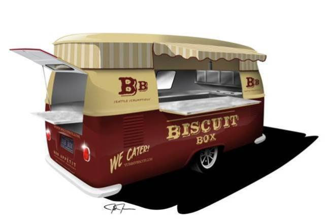 The Biscuit Box truck looks to be more of a trailer, based on this conceptualization. We won't get hung up on the language if Danielle Custer's biscuits live up to her grilled cheese-based reputation. Image via The Biscuit Box's Facebook Page