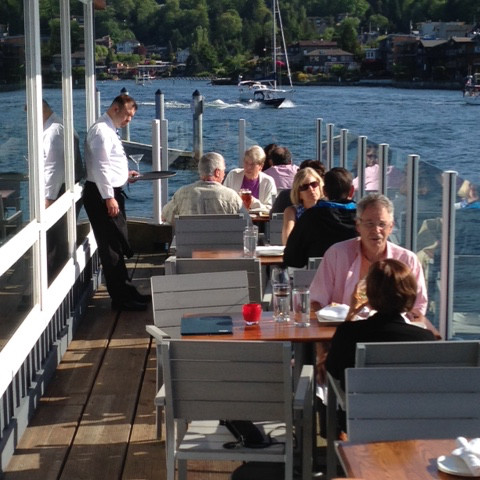 Boathouse deck people z9x2xp
