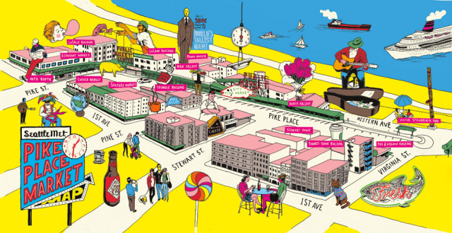 Pike Place Market illustrated map
